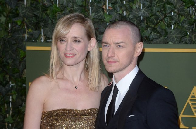 James McAvoy and wife Anne-Marie Duff at the Evening Standard Theatre Awards on Nov. 21. The actor returns in a first X-Men: Apocalypse trailer. File Photo by Paul Treadway/UPI