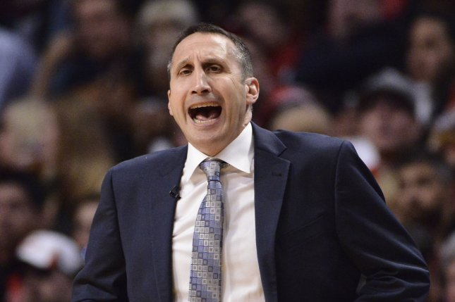 Former Cleveland Cavaliers head coach David Blatt yells during the second quarter of game 6 of the Eastern Conference Semifinals of the NBA Playoffs against the Chicago Bulls at the United Center on May 14, 2015 in Chicago. Photo by Brian Kersey/UPI