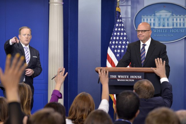 National security adviser H.R. McMaster and press secretary Sean Spicer (L) speak to news media at the White House on Tuesday, regarding the exchange of classified information between President Donald Trump and Russian diplomats. Photo by Mike Theiler/UPI