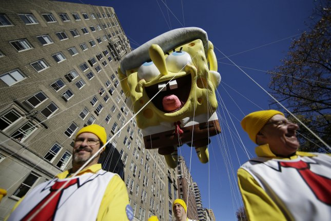 A Spongebob Squarepants balloon moves down the parade route at the 91st Macy's Thanksgiving Day Parade in New York City on November 23, 2017. Photo by John Angelillo/UPI