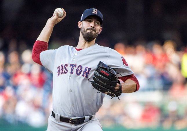Rick Porcello and the Boston Red Sox take on the Atlanta Braves on Tuesday. Photo by Kevin Dietsch/UPI