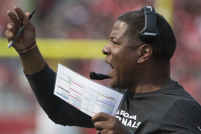 Arizona Cardinals head coach Steve Wilks shouts instructions from the sidelines during a game against the San Francisco 49ers at Levi's Stadium in Santa Clara, California on October 7, 2018. Photo by Terry Schmitt/UPI
