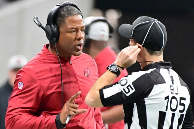 Arizona Cardinals coach Steve Wilks talks with an official during a game against the Atlanta Falcons at Mercedes-Benz Stadium on December 16, 2018. Photo by David Tulis/UPI