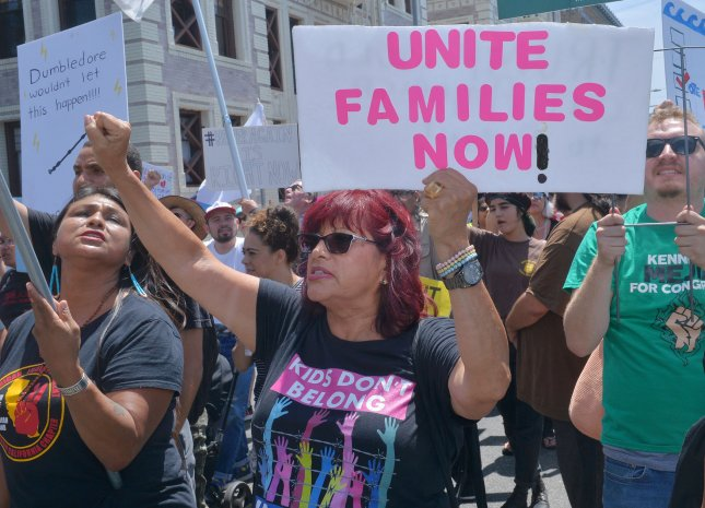 Hundreds of activists, residents and members of civic organizations gather for a Families Belong Together march to protest the Trump administration's family separations policies at the southern border and within the United States at MacArthur Park in Los Angeles on July 21, 2018. File Photo by Jim Ruymen/UPI