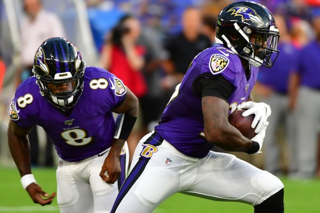 Baltimore Ravens quarterback Lamar Jackson (8) led all NFL quarterbacks with 695 rushing yards during his rookie campaign in 2018, despite starting just seven games. File Photo by David Tulis/UPI