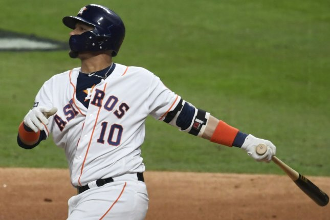 Houston Astros first baseman Yuli Gurriel did not have a home run in the 2019 postseason until he hit a 3-run shot against the New York Yankees Saturday in Houston. Photo by Trask Smith/UPI