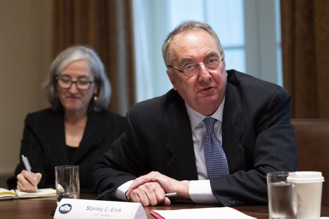 Stanley Erck, president and CEO of Novavax, speaks at the White House. Novavax on Tuesday announced favorable immune responses in clinical trials of its COVID-19 vaccine candidate. File Photo by Kevin Dietsch/UPI