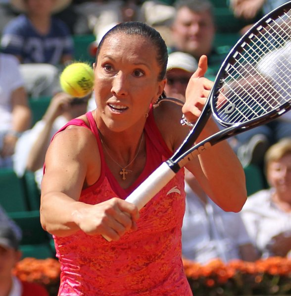 Jelena Jankovic, shown at the 2011 French Open, was a winner Thrusday in quarterfinal play of the WTA tournament in Germany. UPI/David Silpa
