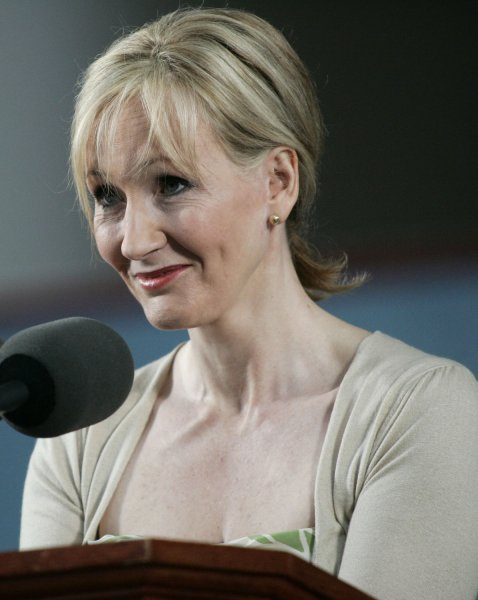 Author J.K. Rowling addresses the crowd during the Annual Meeting of the Harvard Alumni Association which followed the 2008 Harvard University Commencements Exercises on the campus of Harvard University in Cambridge, Massachusetts on June 5, 2008. (UPI Photo/Matthew Healey)