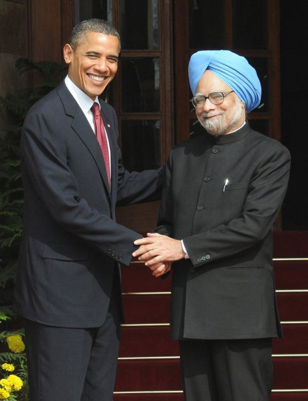 United States President Barack Obama is greeted by Indian Prime Minister Manmohan Singh (R) at Hyderabad House in Delhi on Monday, November 8, 2010. UPI/ Raj Patidar