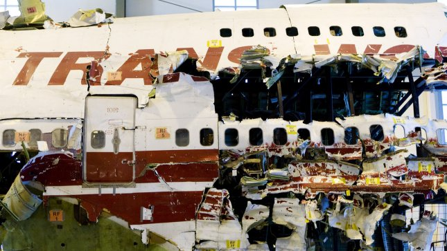 The recovered wreckage of TWA Flight 800 stands reassembled at the National Transportation Safety Board Training Academy where it is used for training new investigators in Ashburn, Virginia. The Boeing 747 crashed into the Atlantic after passing over Long Island Sound and Long Island, New York in 1996, after a flammable mixture of fuel and oxygenated air caused a catastrophic explosion. The Department of Transportation announced that almost all U.S. commercial airliners will be required to install a new air separator to help prevent oxygen from entering an aircrafts' fuel tank, the cause of the TWA Flight 800 disaster. (UPI Photo/Patrick D. McDermott)