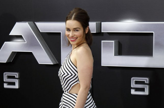 Cast member Emilia Clarke attends the premiere of the motion picture sci-fi thriller Terminator Genisys at the Dolby Theatre in the Hollywood section of Los Angeles on June 28, 2015. She walks crutch free after fracturing her hip 'break dancing with Arnold Schwarzennegger a few weeks ago. Photo by Alex Gallardo/UPI
