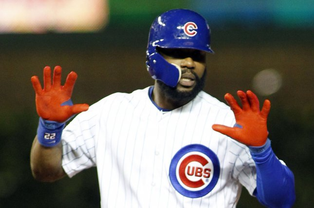 Chicago Cubs' Jason Heyward reacts after hitting a double against the Milwaukee Brewers in the eighth inning of their game on September 15, 2016 in Chicago. The Brewers defeated the Cubs 5-4. Photo by Frank Polich/UPI