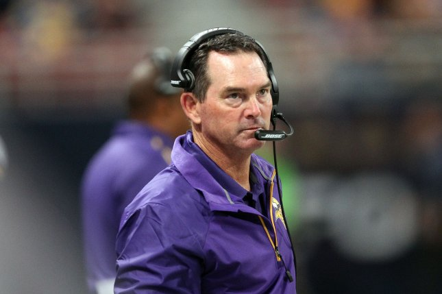 Minnesota Vikings head football coach Mike Zimmer. Photo by Bill Greenblatt/UPI