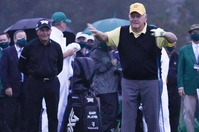 Golf legends Gary Player (L) and Jack Nicklaus (R) took ceremonial tee shots to launch the 2020 Masters Tournament before Augusta National Golf Course was evacuated due to lightning in the area on Thursday in Augusta, Ga. Photo by Kevin Dietsch/UPI