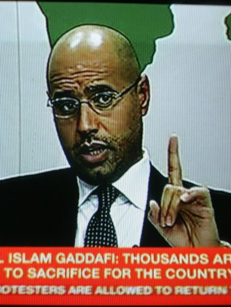 An image from footage broadcast on Libyan state television Feb. 20, 2011. shows a televised address by Libyan leader Moammar Gadhafi's son Saif al-Islam. UPI/Ismael Mohamad