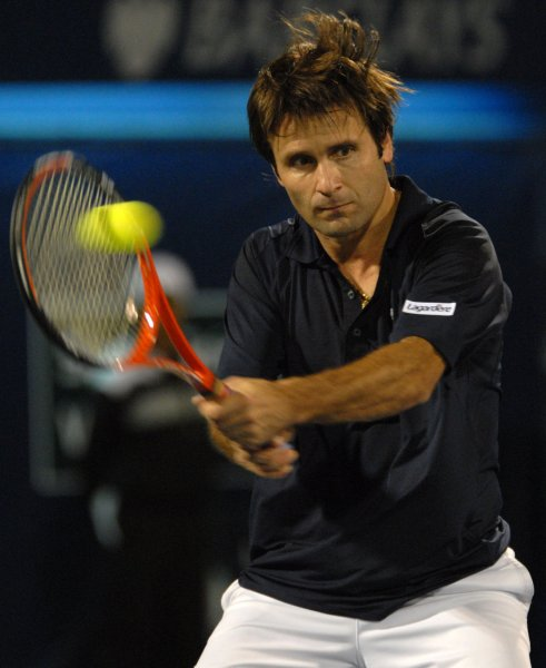 Fabrice Santoro of France, shown during the Dubai Tennis Championships March 5, 2008. (UPI Photo/Norbert Schiller)