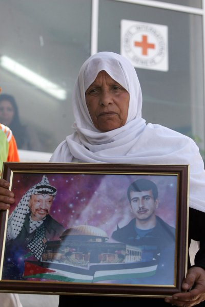 A Palestinian woman participates in a protest in the courtyard of the International Red Cross headquarters in Gaza City on June 25, 2007. Some families are asking for their sons to be exchanged with Israeli hostage Gilad Shalit. (UPI Photo/Ismael Mohamad)