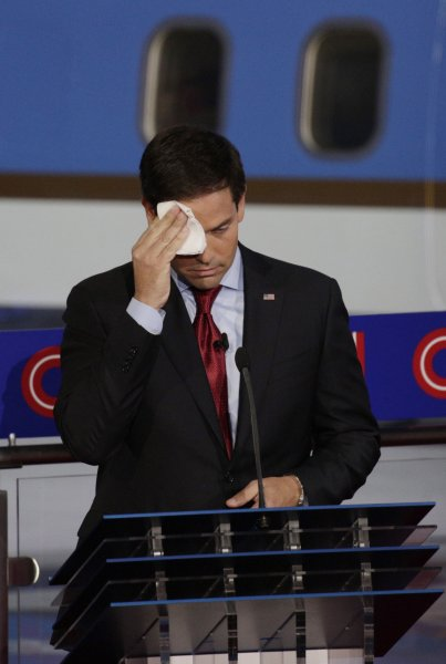 Republican presidential candidate, Florida U.S. Senator Marco Rubio mops his brow following the second Republican presidential debate at the Reagan Library in Simi Valley, California on Sept. 16, 2015. Tuesday, Republican presidential hopeful Donald Trump pranked GOP rival Marco Rubio with a case of water Tuesday after chiding Rubio's voting record and abundant perspiration. Photo by Max Whittaker/UPI/Pool