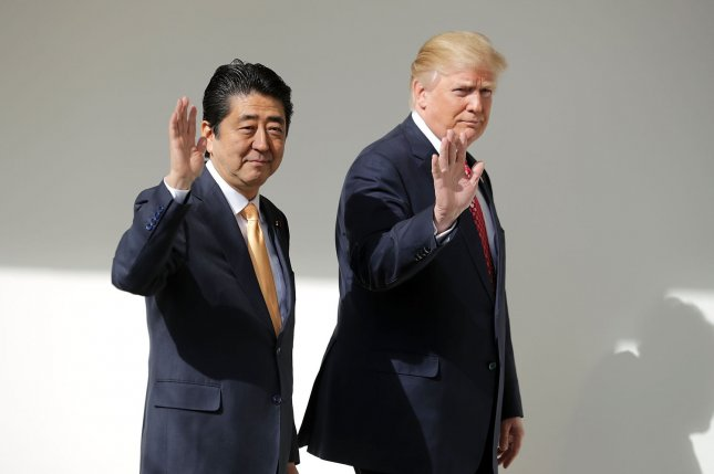 U.S. President Donald Trump and Japan's Prime Minister Shinzo Abe agreed to strengthen economic sanctions against North Korea, according to Japanese press reports. Pool Photo by Chip Somodevilla/UPI