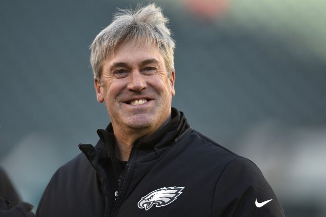 Philadelphia Eagles head coach Doug Pederson smiles during warmups for an NFC divisional playoff game against the Atlanta Falcons at Lincoln Financial Field on January 13 in Philadelphia. Photo by Derik Hamilton/UPI