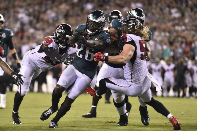 Philadelphia Eagles running back Jay Ajayi (26) converts a two-point conversion during the second half against the Atlanta Falcons on September 7, 2018 at Lincoln Financial Field in Philadelphia. Photo by Derik Hamilton/UPI