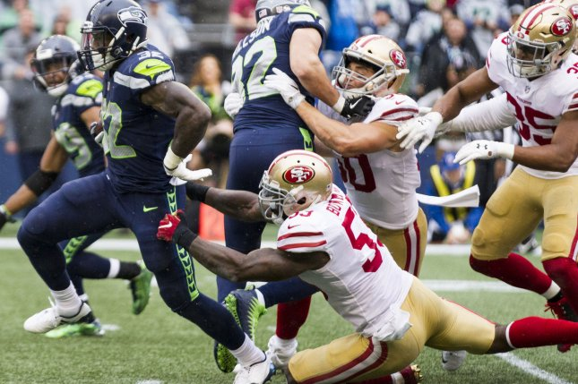 Former San Francisco 49ers middle linebacker NaVorro Bowman (53) spent his 2017 campaign between the 49ers and Oakland Raiders, starting 15 times during his final season. File Photo by Jim Bryant/UPI