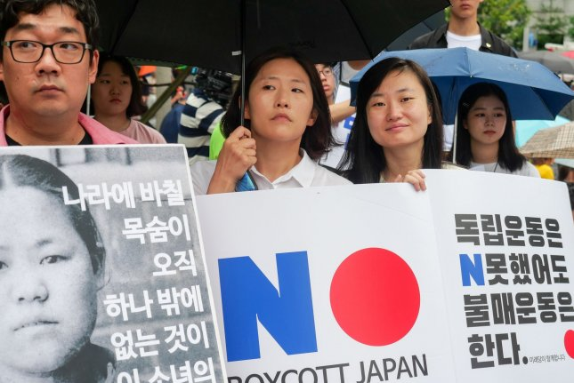South Korean response to Japan's trade restrictions have included protests as the government reviews a military sharing agreement with Tokyo. Photo by Thomas Maresca/UPI
