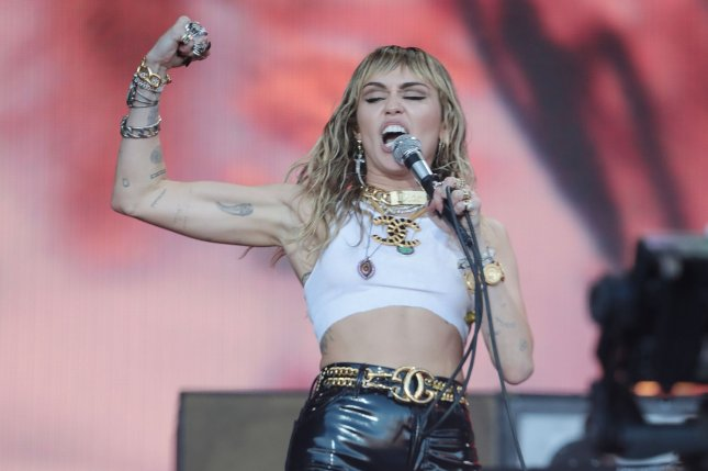 Miley Cyrus (pictured) and Demi Lovato reflected on their insecurities during an episode of Bright Minded: Live with Miley on Instagram Live. File Photo by Hugo Philpott/UPI