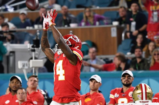 Kansas City Chiefs wide receiver Sammy Watkins (14) took a pay cut for the 2020 season and freed up $5 million in salary cap space for the AFC West franchise. File Photo by Kevin Dietsch/UPI
