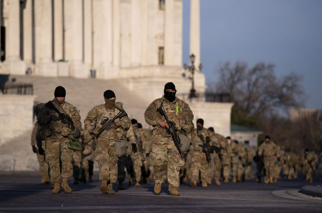 Authorities have removed 12 members of the National Guard patrol in the U.S. Capitol ahead of the inauguration of President-elect Joe Biden, in Washington, D.C. Photo by Kevin Dietsch/UPI