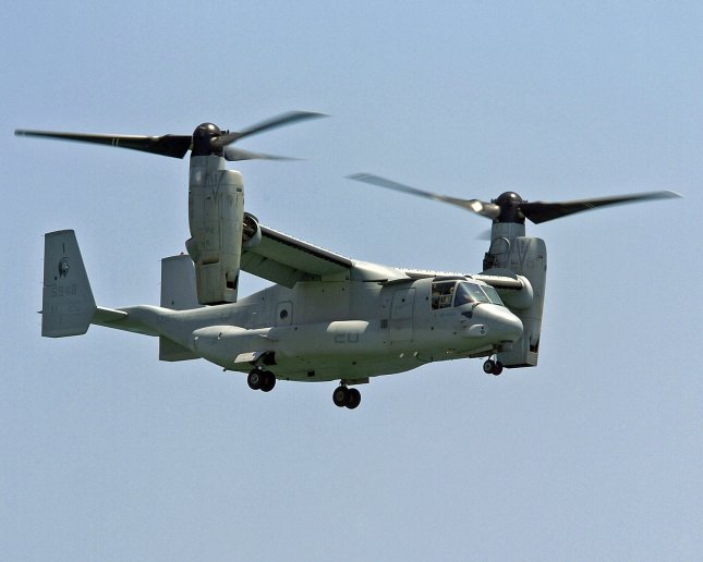 The USMC V-22 Osprey the world's first production tiltrotor aircraft is one of many US Military aircraft demonstrating its capabilities during the eleventh annual McDonalds Air and Sea Show off the beaches of Ft. Lauderdale, Fl. on April 30, 2005. (UPI Photo/Marino-Cantrell)