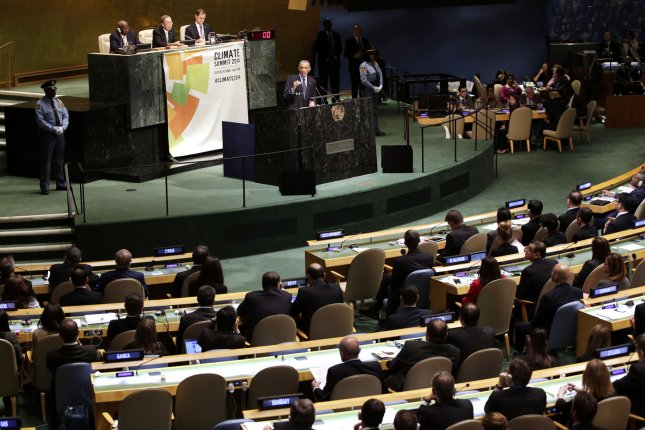 United States President Barack Obama speaks at the UN Climate Summit one day before the 69th United Nations General Assembly in the UN building in New York City on September 23, 2014. Climate Week NYC events are scheduled to continue through Sunday, September 28. UPI/John Angelillo