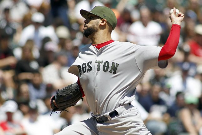 Boston Red Sox starting pitcher David Price throws a pitch. File photo by Frank Polich/UPI