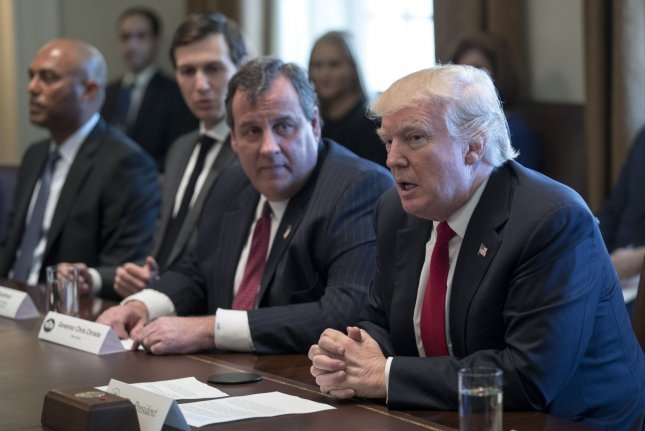 President Donald J. Trump (R), New Jersey Governor Chris Christie (C) and senior advisor to the president Jared Kushner attend an opioid and drug abuse listening session in the Roosevelt Room of the White House on March 29. On Thursday, Trump heeded the advise of his commission on opioid abuse -- led by Christie -- to declare a national emergency over the crisis. File Pool Photo by Shawn Thew/UPI
