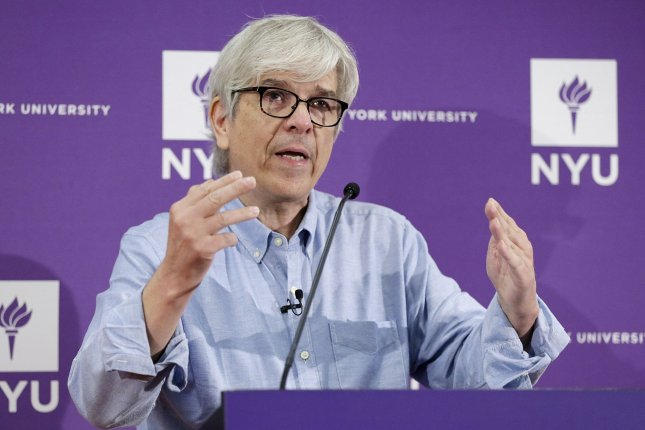 Winner of the 2018 Nobel Prize in Economic Sciences Paul M. Romer speaks at a press conference at NYU in New York City on Monday. Photo by John Angelillo/UPI