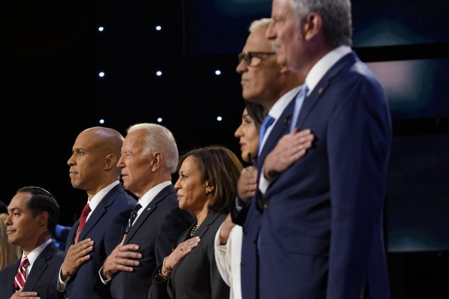 Democratic presidential candidates appear on stage at the second primary debate on July 31 at the Fox Theater in Detroit, Mich. File Photo by Edward M. PioRoda/CNN/UPI