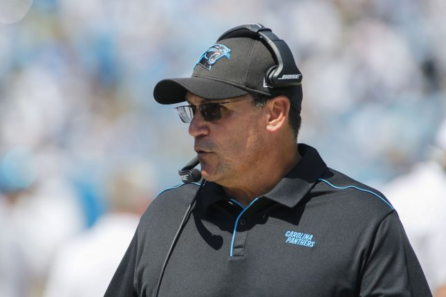 Ron Rivera led the Carolina Panthers to the Super Bowl in 2016, but was fired in early December. File Photo by Nell Redmond/UPI