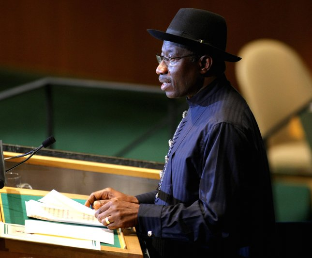 Goodluck Jonathan, pctured at the United Nations in New York Sept. 21, 2011. UPI/Monika Graff