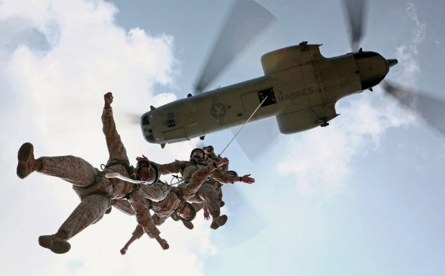 U.S. Marines train during a HRST Masters Course at the Central Training Area in Okinawa, Japan on August 5, 2010. UPI/Jose Nava/U.S. Marines