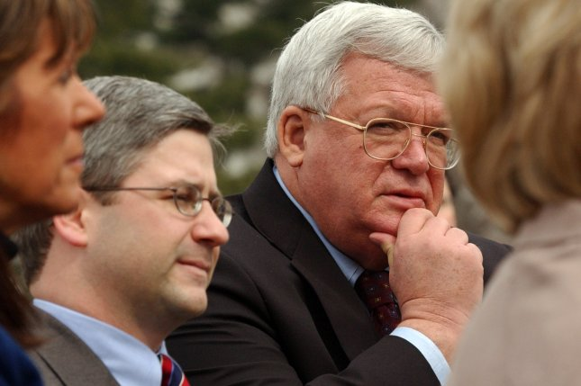Rep. Patrick McHenry, R-NC, left, with former House Speaker Dennis Hastert, R-Ill. (UPI Photo/Michael Kleinfeld)