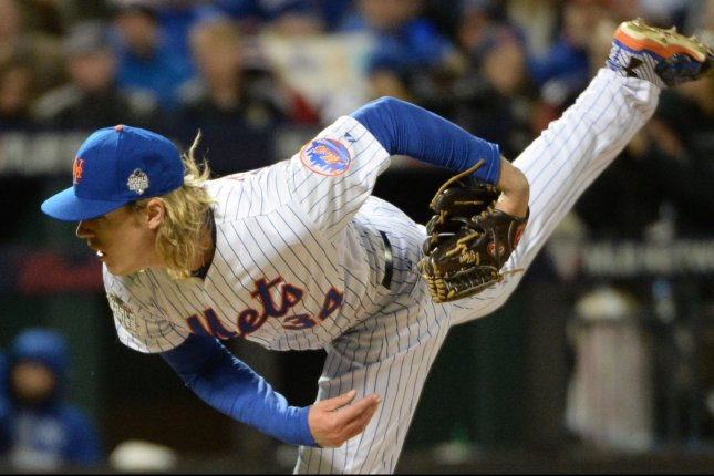 New York Mets pitcher Noah Syndergaard pitches in the fifth inning against the Kansas City Royals in game 3 of the World Series at Citi Field in New York City on October 30, 2015. Photo by Pat Benic/UPI