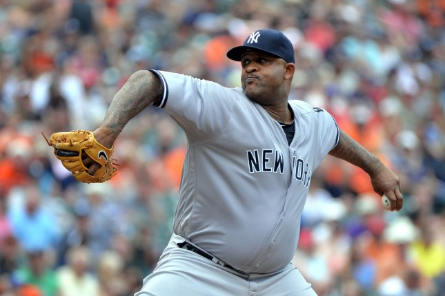 New York Yankees starting pitcher CC Sabathia (52). File photo by Kevin Dietsch/UPI