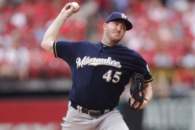Milwaukee Brewers starting pitcher Tyler Cravy delivers a pitch to the St. Louis Cardinals in the second inning at Busch Stadium in St. Louis on September 27, 2015. File photo by Bill Greenblatt/UPI