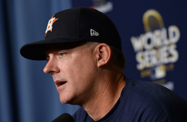 Houston Astros manager A.J Hinch speaks with reporters before Game 1 of the World  Series at Dodger Stadium in Los Angeles. Photo by Jim Ruymen UPI  0e3a5df1cb