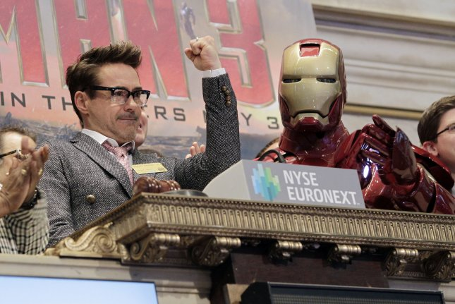 The Los Angeles Police Department said it is investigating the theft of an Iron Man costume worn by actor Robert Downey Jr. in the 2008 film. Downey is seen here at the New York Stock Exchange on April 30, 2013. File Photo by John Angelillo/UPI