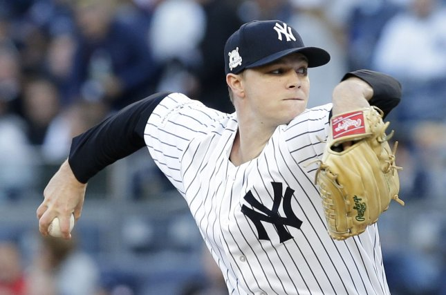 Sonny Gray and the New York Yankees take on the Baltimore Oriolers on Thursday. Photo by John Angelillo/UPI