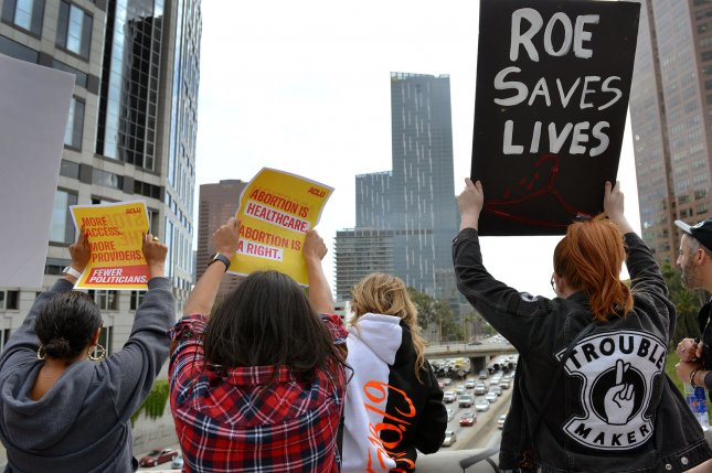 Abortion rights activists rally on the Wilshire freeway overpass in Los Angeles, California on May 21, 2019. File Photo by Chris Chew/UPI