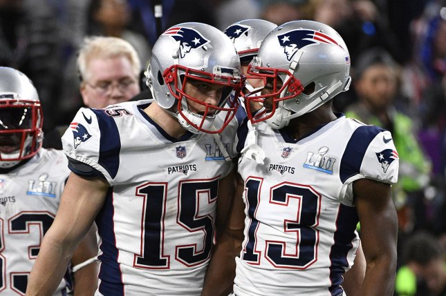Former New England Patriots wide receiver Chris Hogan (15), shown Feb. 4, 2018, was competing in the Premier Lacrosse League this summer before the New Orleans Saints agreed to terms with him. File Photo by Brian Kersey/UPI