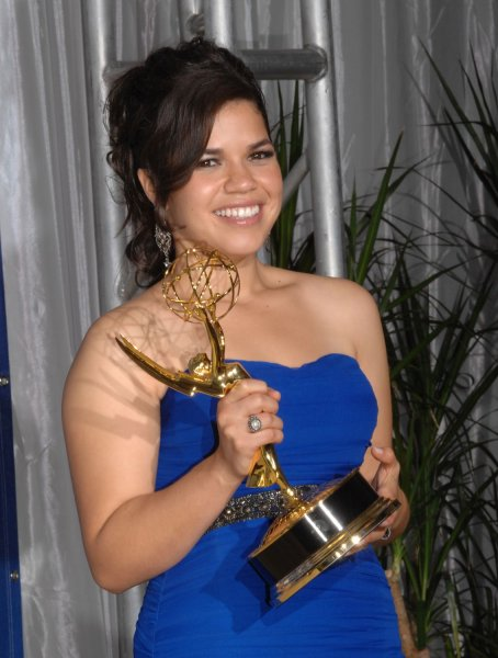 America Ferarra shows off the Emmy she won for work on 'Ugly Betty' at the 59th Primetime Emmy Awards at the Shrine Auditorium in Los Angeles on September 16, 2007. (UPI Photo/Scott Harms)